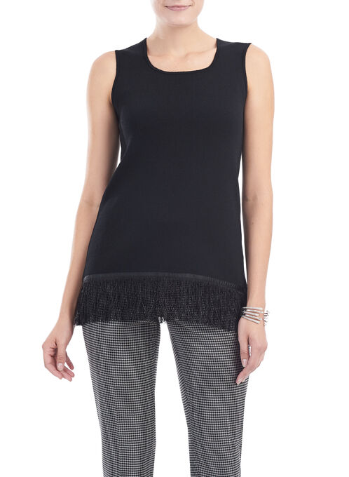 Sleeveless Fringed Knit Top, Black, hi-res