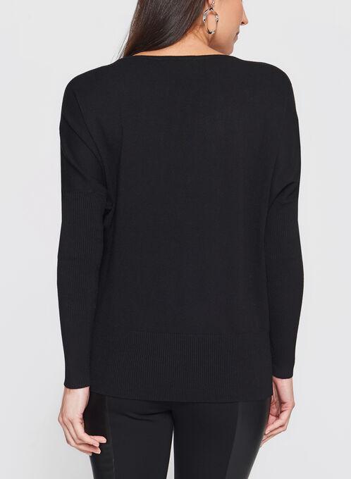 Vex - Speckle Print Dolman Sleeve Sweater, Black, hi-res