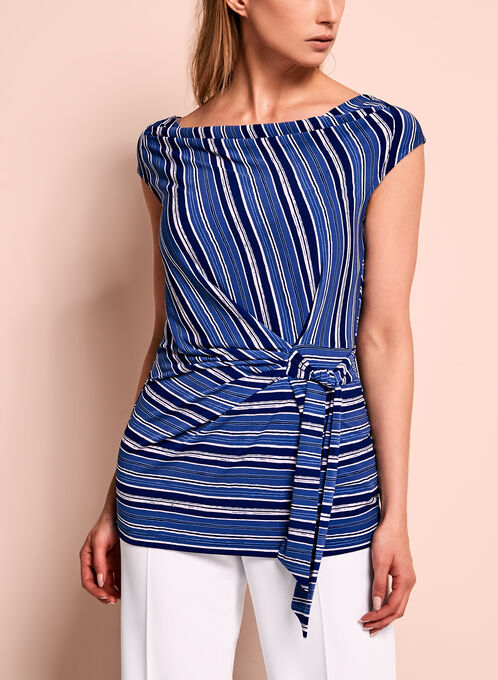 Drape Neck Stripe Print Top, Blue, hi-res