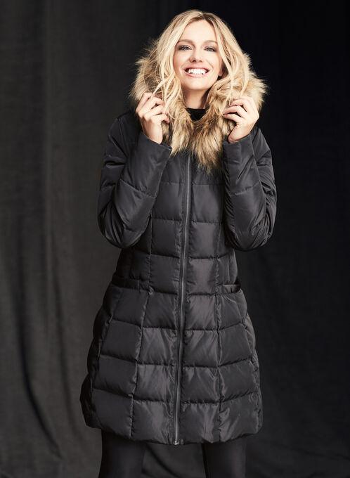 Down Faux Fur Coat , Black, hi-res