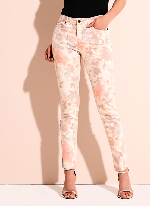 Floral Print Slim Leg Ankle Jeans, Orange, hi-res