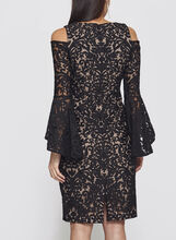 Cold Shoulder Bell Sleeve Lace Dress, Black, hi-res
