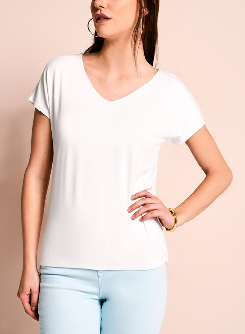 Short Sleeve V-Neck Top, Off White, hi-res