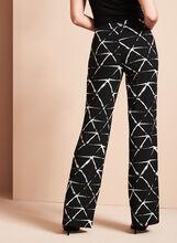Graphic Print Wide Leg Pants, Black, hi-res