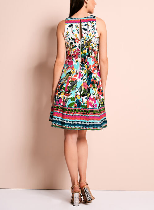 Floral Print Fit & Flare Dress, Multi, hi-res