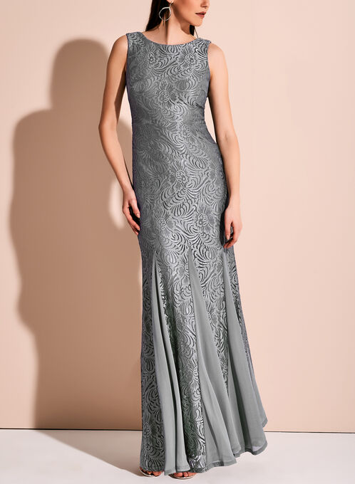 Floral Lace Mermaid Dress, Grey, hi-res