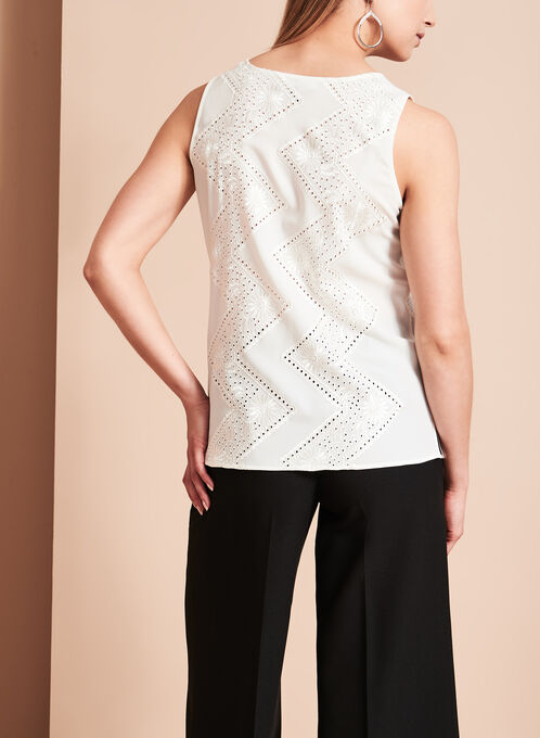Sleeveless V-Neck Embroidered Blouse, Off White, hi-res