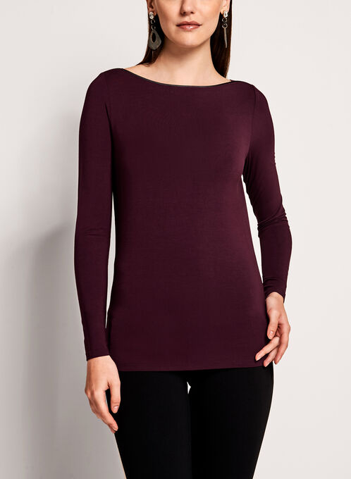 Long Sleeve Boat Neck Knit Top, Red, hi-res
