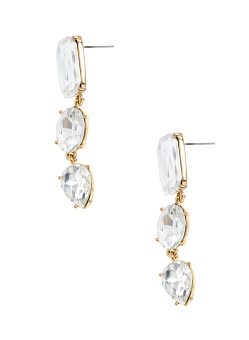 Tiered Faceted Stone Earrings, Gold, hi-res