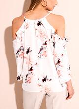 Cold Shoulder Floral Print Blouse, White, hi-res