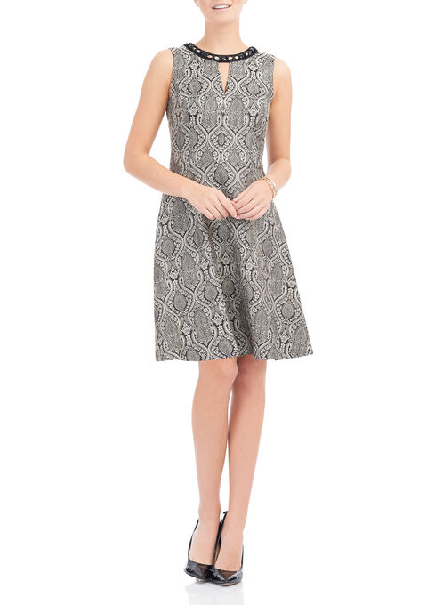 Maggy London Paisley Brocade Dress, Gold, hi-res