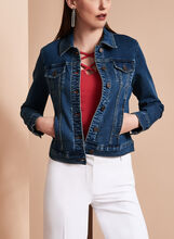 Cropped Knit Jean Jacket, , hi-res