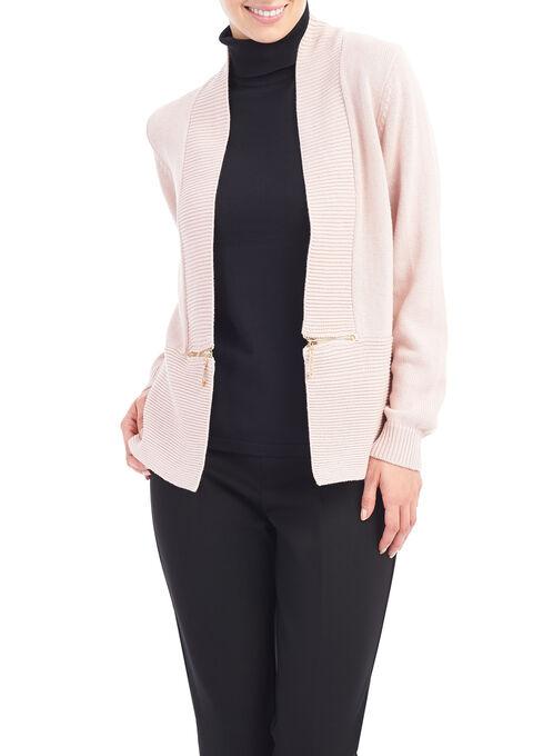 Zip Detail Knit Cardigan , Pink, hi-res