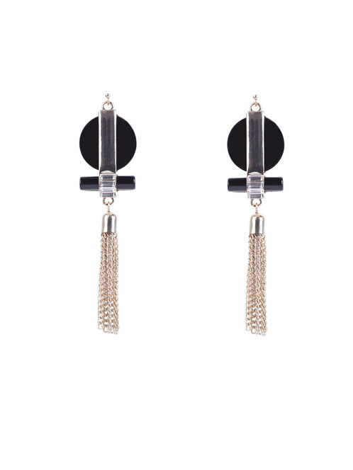 Geometric Tassel Chain Earrings , Black, hi-res