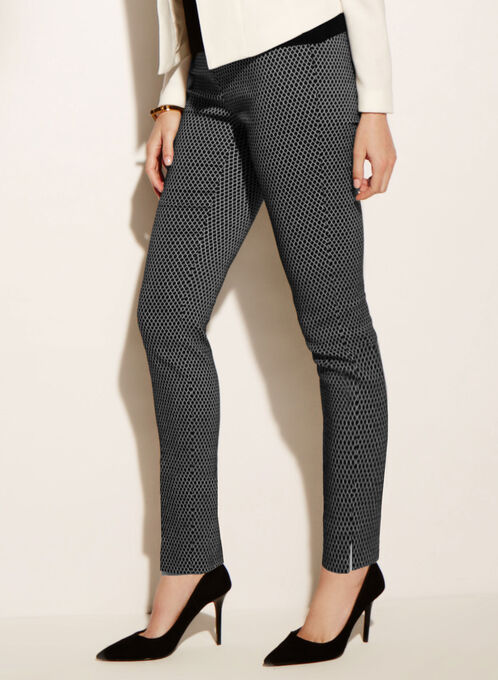 Slim Leg Jacquard Pants, Black, hi-res