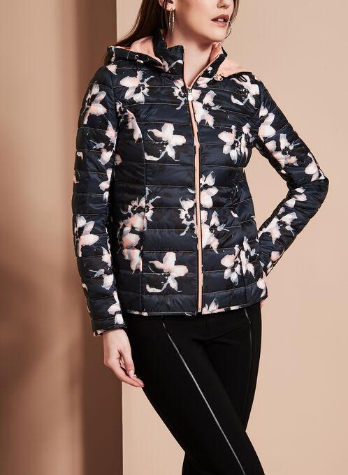 Novelti Quilted Floral Print Coat, Pink, hi-res