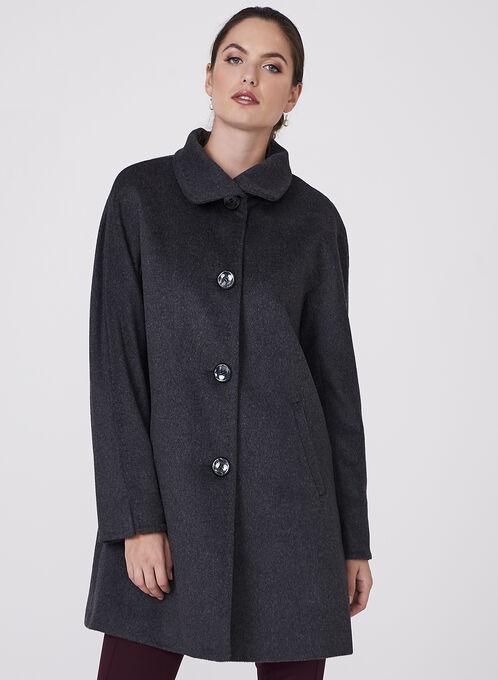 Ellen Tracy - Wool Blend Coat, Grey, hi-res