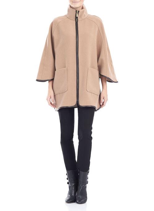 Wool-Like Cape Jacket , Brown, hi-res