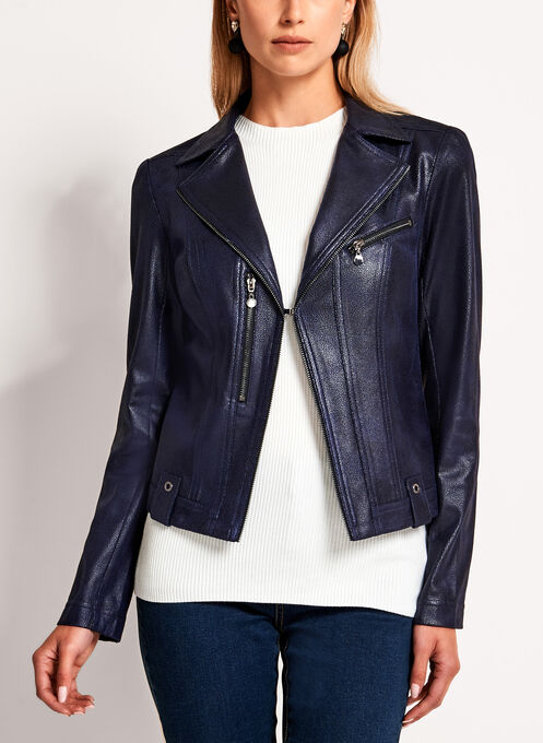 Veste perfecto en similicuir avec détails zippés, Bleu, hi-res