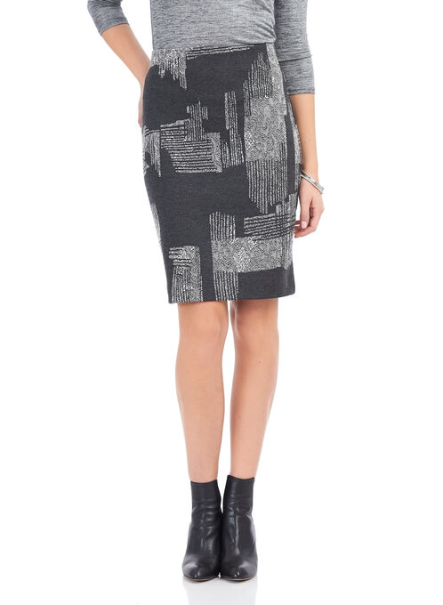 Trisisto Jacquard Pencil Skirt , Black, hi-res