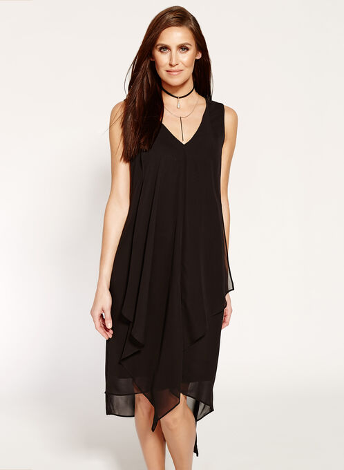 Sleeveless V-neck Asymmetric Dress, Black, hi-res