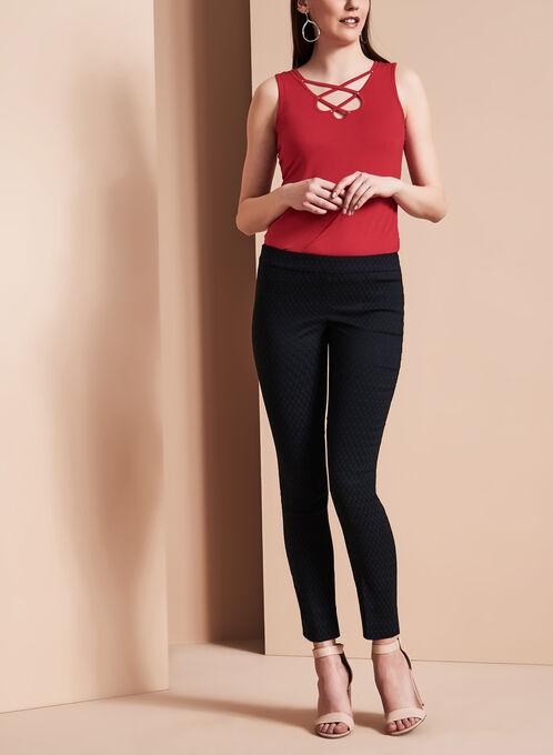 Pantalon à jambe étroite en jacquard, Noir, hi-res