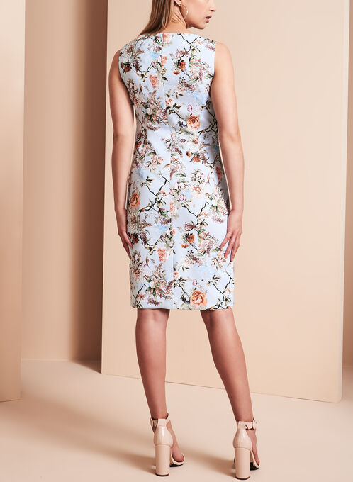 Floral Print Sheath Dress, Blue, hi-res