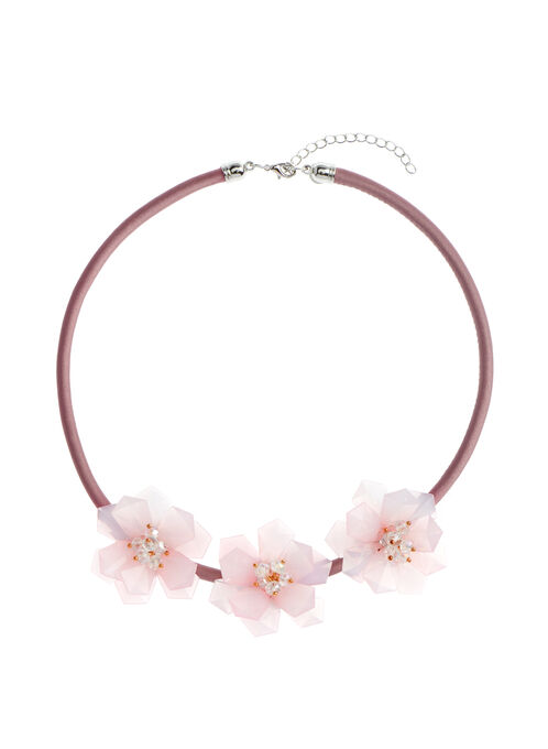 Lucite Flower Necklace, Pink, hi-res