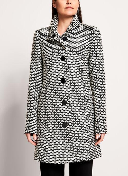 Manteau en tweed à gros boutons et cache-cou, Noir, hi-res