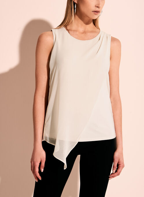 Sleeveless Asymmetric Blouse, Grey, hi-res