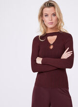 Double Keyhole Neck Knit Sweater, Red, hi-res