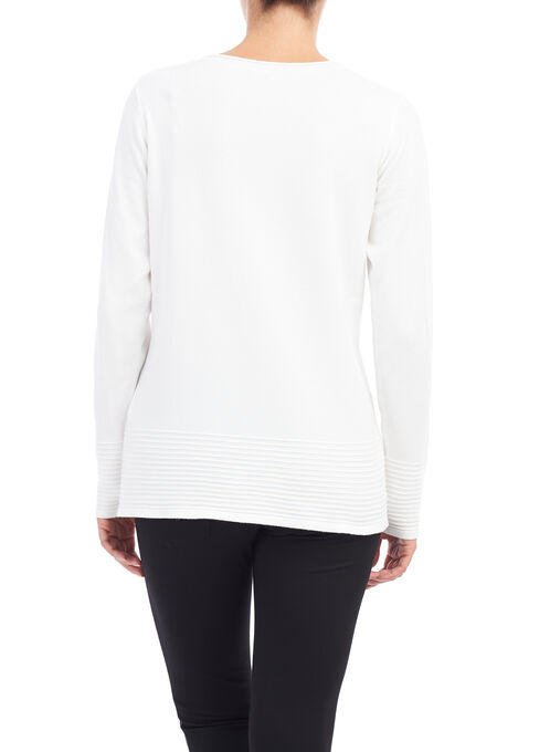 Long Sleeve Knit Sweater, Off White, hi-res
