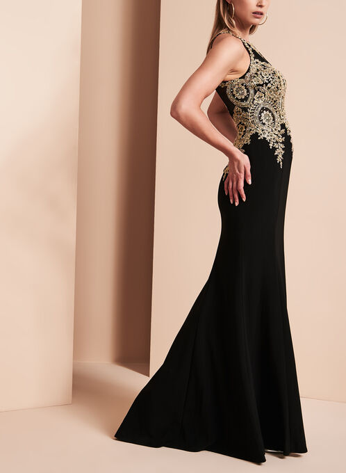 BA Nites Beaded Bodice Gown, Black, hi-res