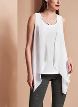 Sleeveless Cutout Camisole with Sheer Cascade Vest, , hi-res