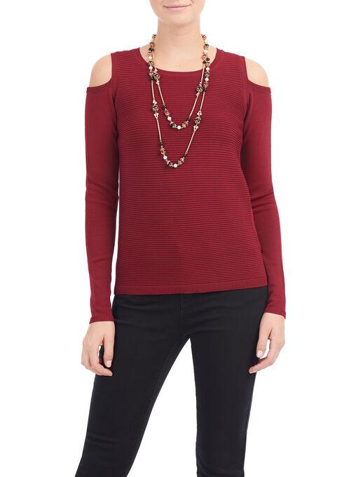 Cold Shoulder Ottoman Knit Top, Red, hi-res