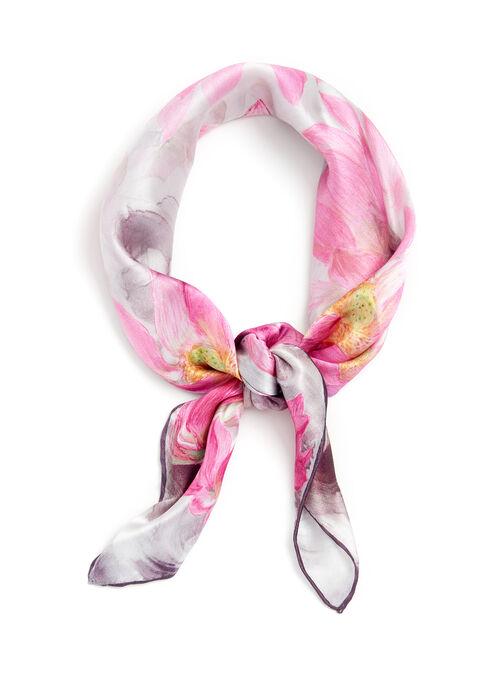 Foulard en soie à imprimé floral, Rose, hi-res