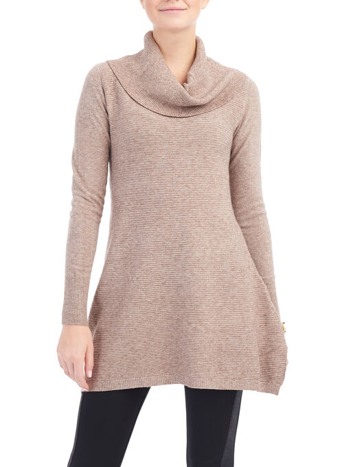 Cowl Neck Ottoman Knit Tunic, Off White, hi-res