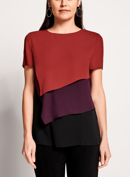Multi-Layer Colour Block Blouse, Orange, hi-res