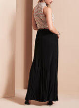 Sheer Waist Sequined Jersey Gown, Black, hi-res