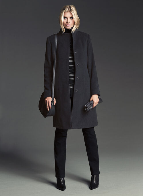 Wool & Cashmere Funnel Neck Coat, Black, hi-res