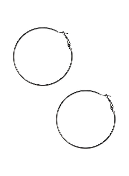 Metallic Hoop Earrings , Grey, hi-res