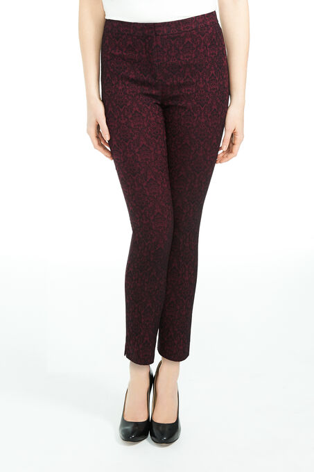 Baroque Print Stretch Slim Leg Pants, Red, hi-res