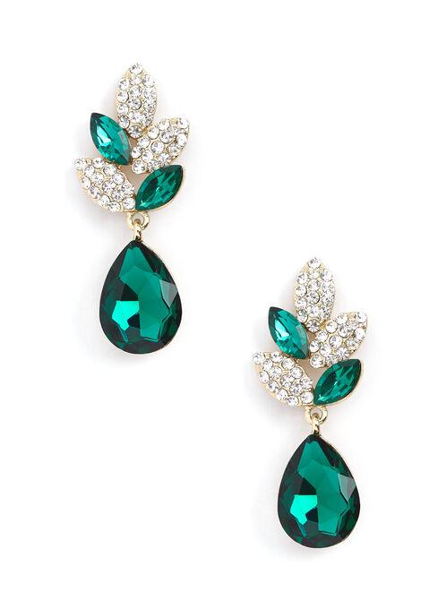Teardrop Crystal Dangle Earrings, Green, hi-res