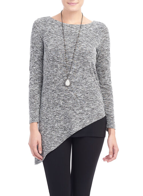Asymmetrical Knit Tunic Top, Black, hi-res