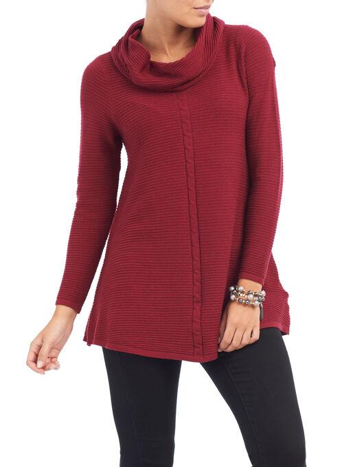 Long Sleeve Ribbed Yarn Top , Red, hi-res