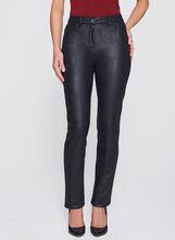 Straight Leg Faux Leather Pants , Black, hi-res