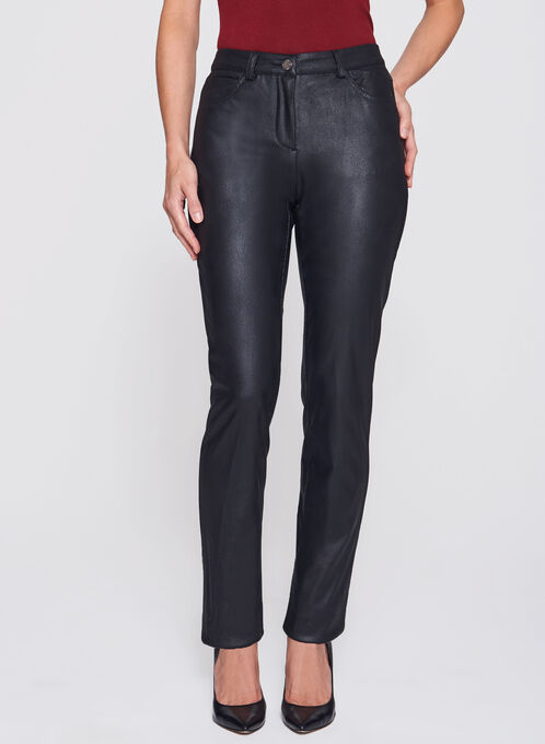 Straight Leg Faux Leather Pants , Black, hi-res
