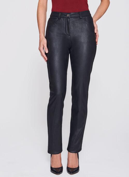 Pantalon en similicuir à jambe droite, Noir, hi-res