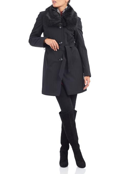 Nuage Faux Fur Trench Coat , Black, hi-res