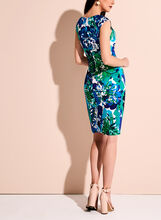 Adrianna Papell - Floral Print Sunburst Pleated Dress, Blue, hi-res